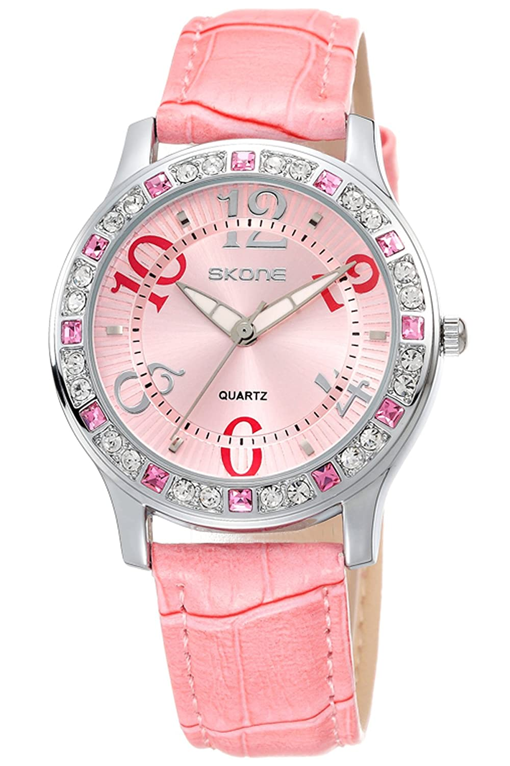 Amazon.com: Ladies Elegant Dress Watch Fashion Casual Crystal Leather Quartz Analog Watches Pink: Watches