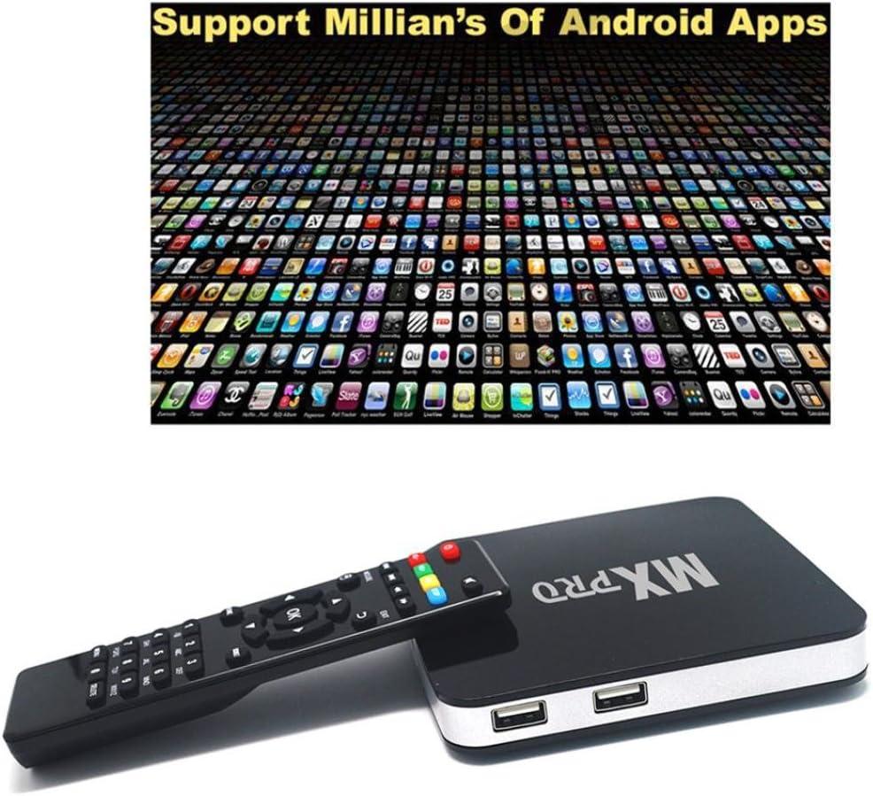 jiangfu Quad-Core set-top-box, MX Pro Smart TV Box Android 4.4 4 Cable de núcleo 1 G + 8 G 1080p BT Wifi Media Player: Amazon.es: Amazon.es