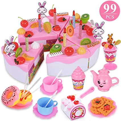 Marvelous Amazon Com Temi Pretend Birthday Cake For Kids Diy 99 Pcs Funny Birthday Cards Online Unhofree Goldxyz
