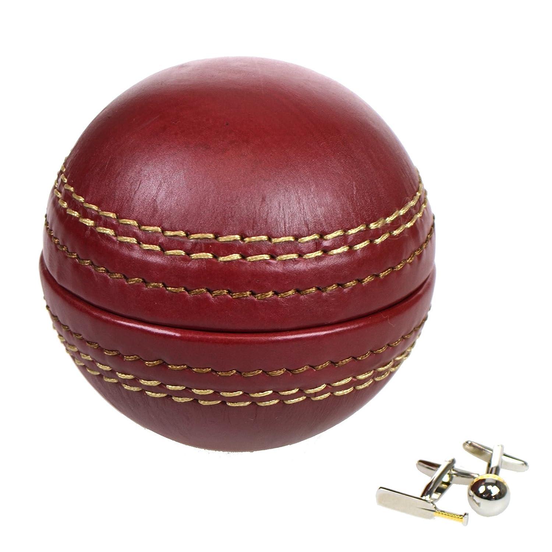 Portland Genuine Leather Cricket Ball Cufflink Box + Cufflinks