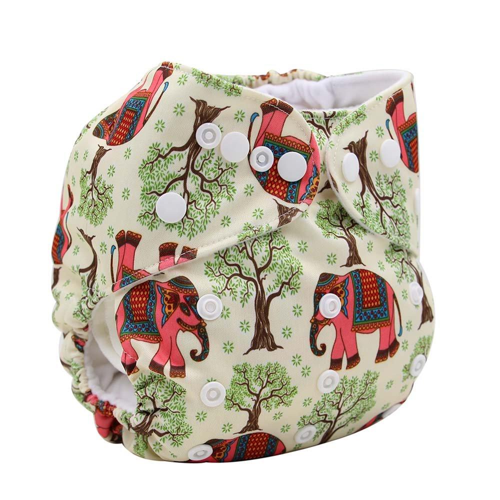 ohbabyka impreso diseño reutilizable lavable bolsillo bolsa para pañales + 1Inserte (elefante)