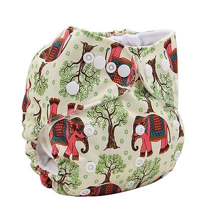 ohbabyka impreso diseño reutilizable lavable bolsillo bolsa para pañales + 1 Inserte (elefante)