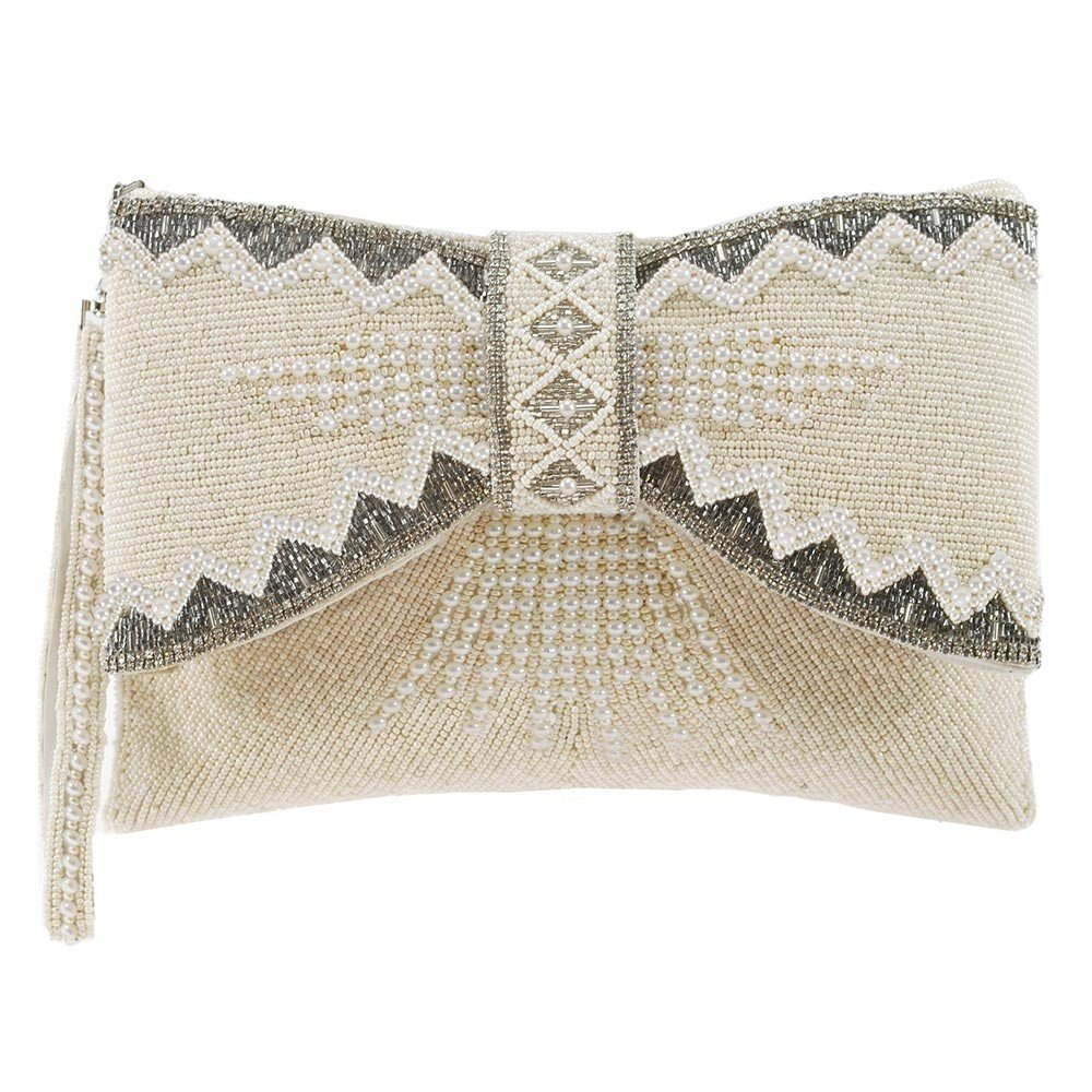 MARY FRANCES Bowed Over, Cream Beaded Bridal 3D Bow Handbag