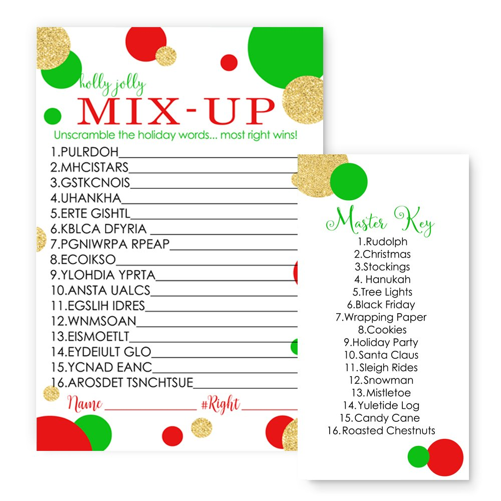 Red and Gold Christmas Word Scramble Party Game Set (25 Pack) by Paper Clever Party (Image #1)