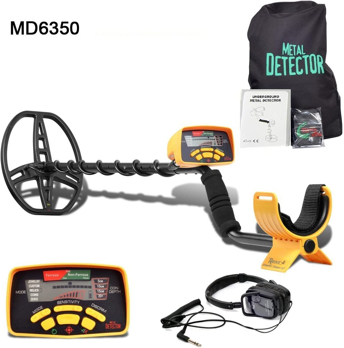 XIRUI MD-6350 - Detector de metales profesional de alta sensibilidad y resistencia al agua para cazador - Pantalla LCD Detecta todos los metales - Tallo ajustable, amarillo: Amazon.es: Jardín