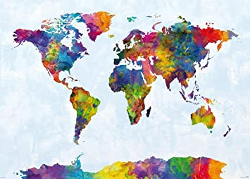 Watercolor World Map XXL-Poster (140x 100cm) von Michael Tompsett + ...