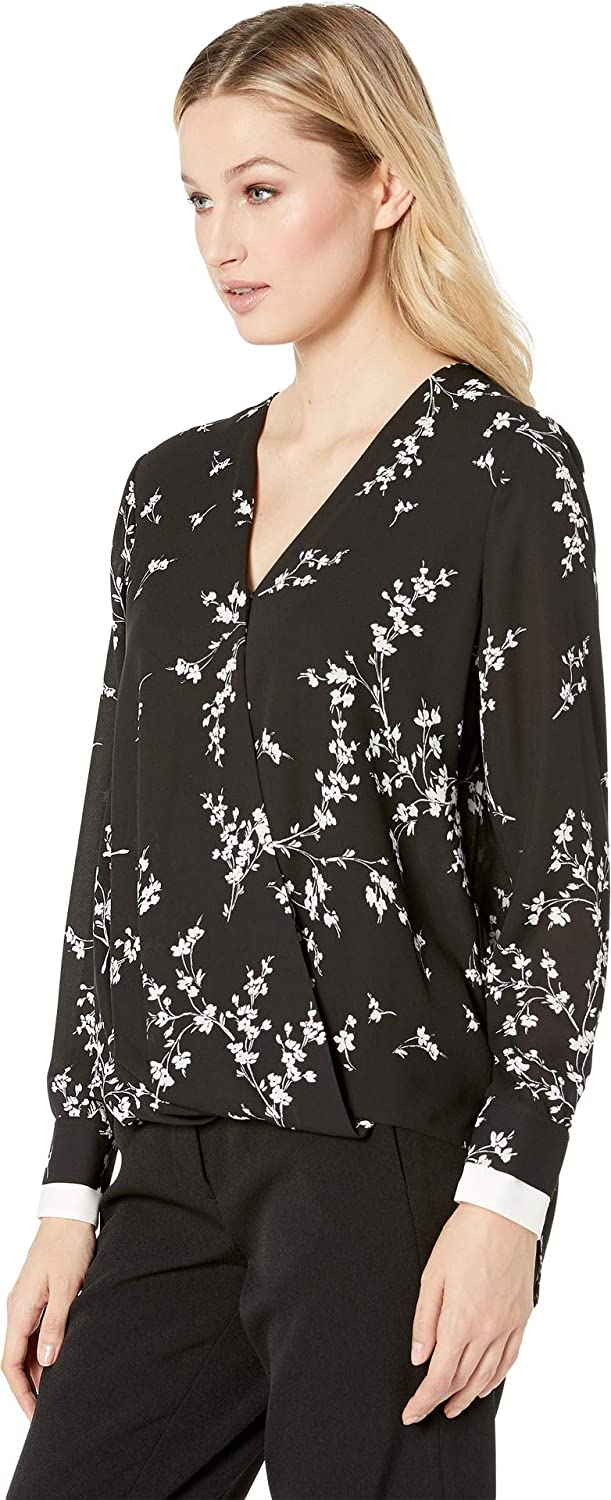 Vince Camuto Womens Long Sleeve Desert Ditsy Wrap Front Blouse