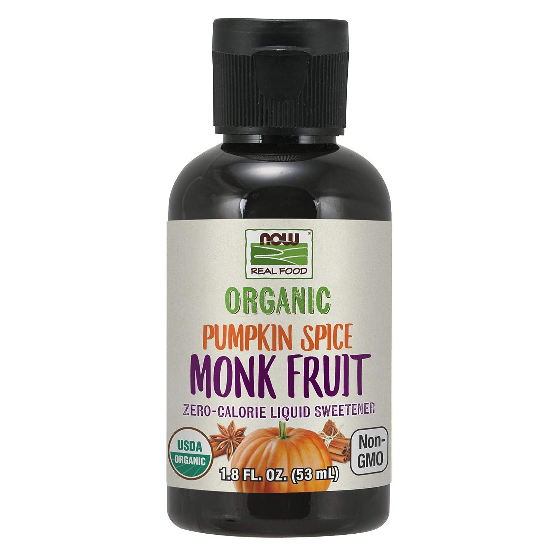 NOW Foods, Organic Liquid Monk Fruit, Pumpkin Spice, Zero-Calorie Sweetener, 1.8-Ounce