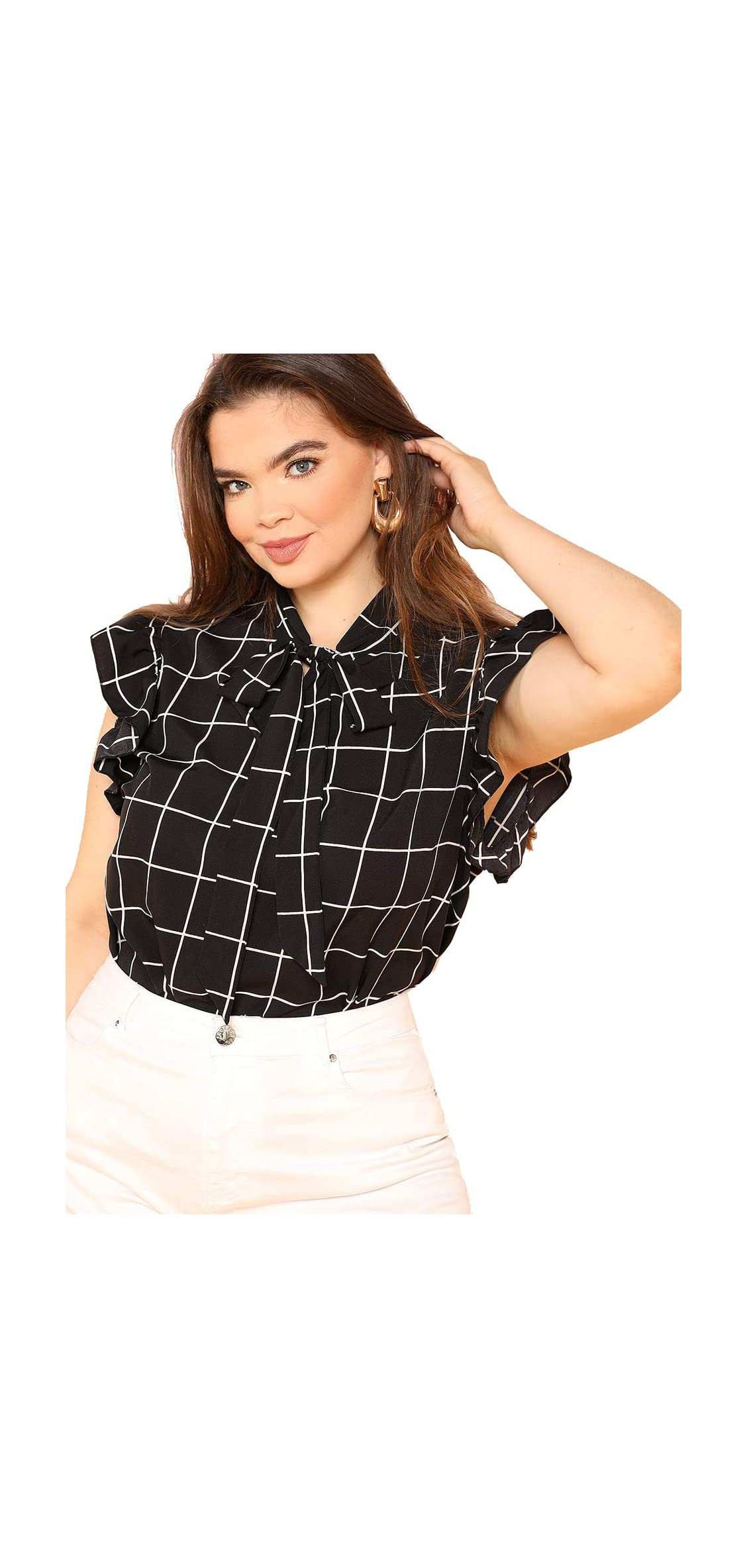 Women's Plus Size Bow Tie Neck Short Sleeve Casual Wear To