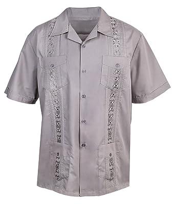 5662d9b1f1b Urban Fox Mens Guayabera Short-Sleeve Shirt