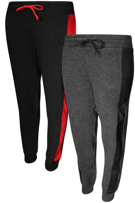 Quad Seven Boys Fleece Jogger Pant, Black/Grey Side Panel, Size 5/6'