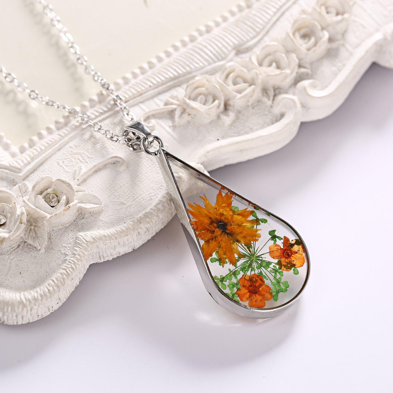 Rinhoo Silver Plated Handmade Real Dry Pressed Flower Cross Bar Shape Pendant Necklace Women Girls Jewelry (Teardrop(Yellow))