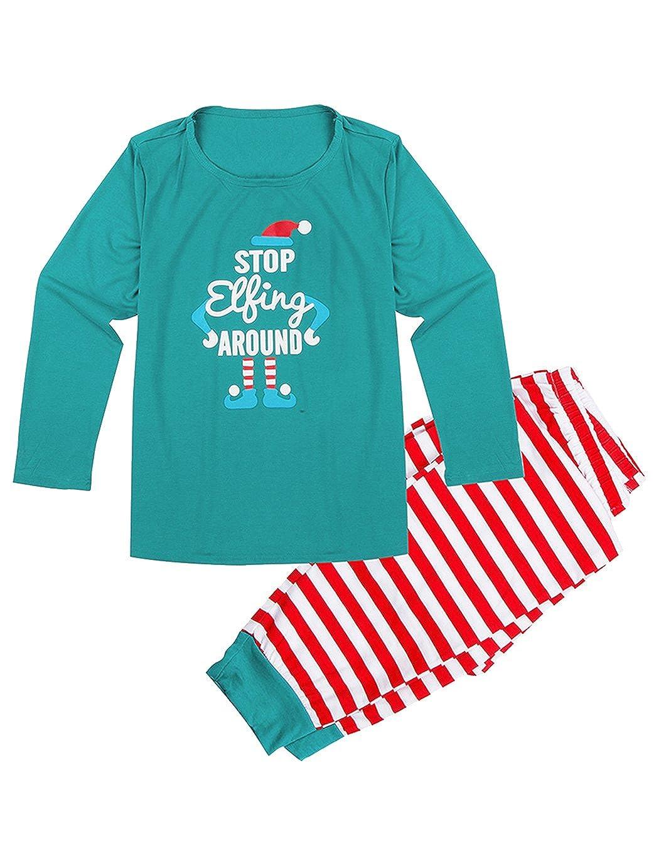 Keland Familie Weihnachten Pyjamas Sets Kinder Erwachsene Schlafanzug Nachtwäsche mit Weihnachts-Print