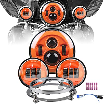 "Orange Motorcycle 7"" LED Headlight for Motor Road King, Road Glide, Street Glide and Electra Glide,Ultra Limited with 4.5 Inch LED Passing Lamps Fog Lights+Bracket Mounting Ring Set …: Automotive"