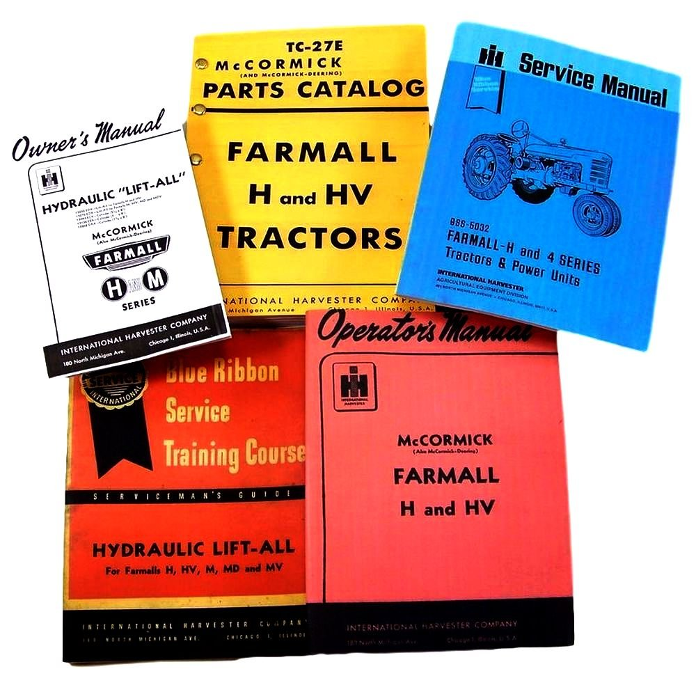 Amazon.com: Farmall H HV Tractor Service, Parts and Operators Manuals for  Chassis, Engine, Hydraulics Lift-All, Engine Repair and More For Shop and  Field ...