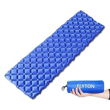FLYTON Saco de dormir hinchable, ultraligero y compacto, para mochila, senderismo, hamaca, tienda de campaña, azul: Amazon.es: Deportes y aire libre