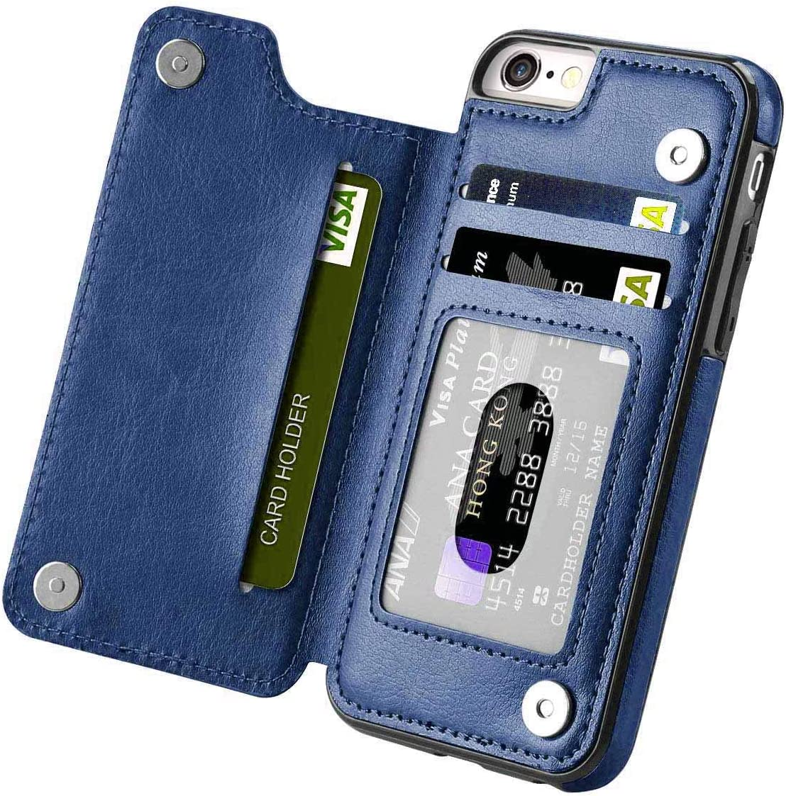 i-Dawn iPhone 6s/6 Wallet Case,iPhone 6/6S Case for Girls Women Men, Compatible with iPhone 6S/6 Case Wallet with Card Holder&Stand iPhone 6S Case Slim Fit and Durable Premium Leather Cover -Blue