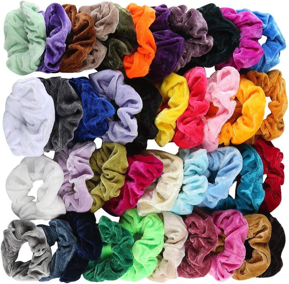 40Piezas Scrunchies de Banda Velvet Elástico de Color Sólido ...