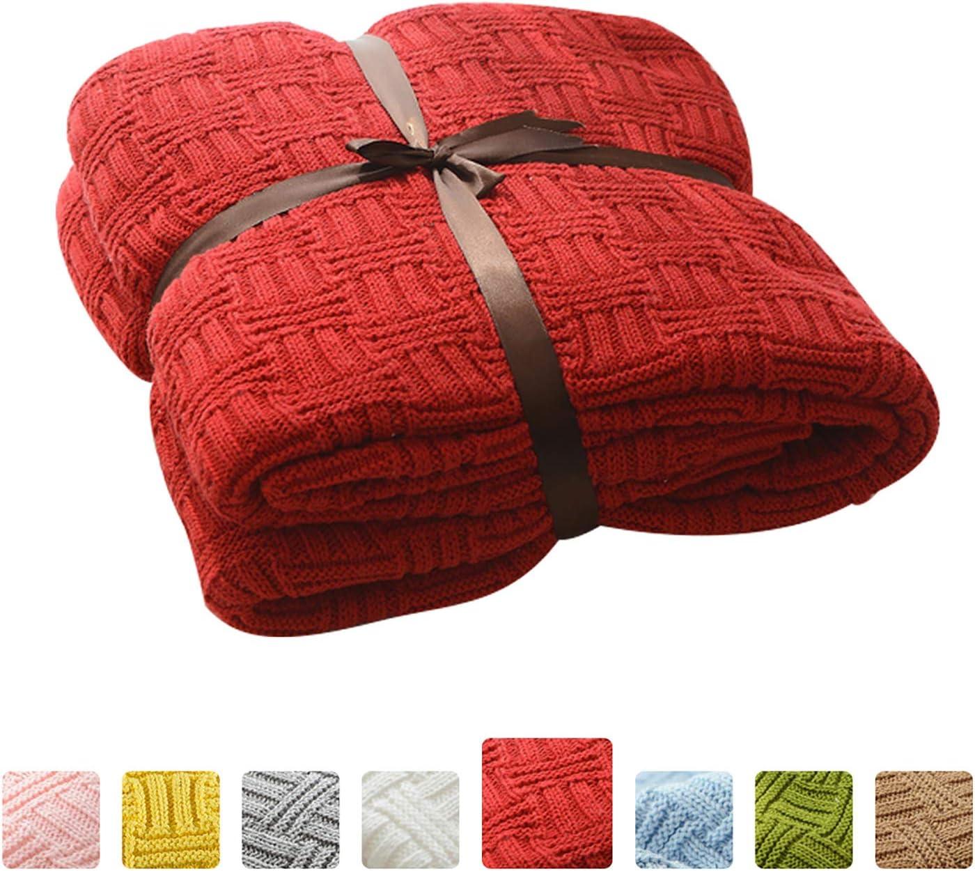 MYLUNE HOME 100% Algodón Tejer Elegante Manta de Punto Cobertura para Ver la televisión en la silleta, sofá y Cama, Las Dos Caras Cubiertas(180x200cm,Red)