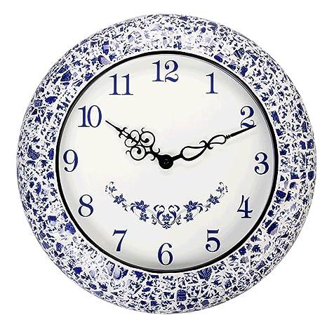 reloj de pared LXF Creativo de Moda cerámica Azul y Blanco Relojes mudos clásicos