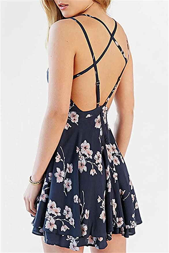 4e414694b528 Coli&Tori Women's Vintage A-line Floral Print Crisscross Back Cami Dress/Skater  Dress/Summer Dress at Amazon Women's Clothing store:
