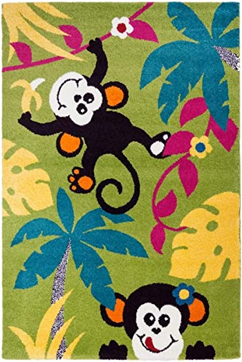 Ladole Rugs Adorable Cute Durable Soft Modern Moda Collection Kids Area Rug Carpet Monkeys Trees in Multicolor, 7×10 6 5 x 9 5 , 200cm x 290cm