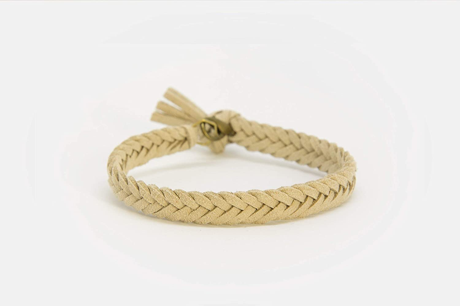 LoilJ Essential Oil Diffusing Bracelet - Thick Braided 8in Oat Beige