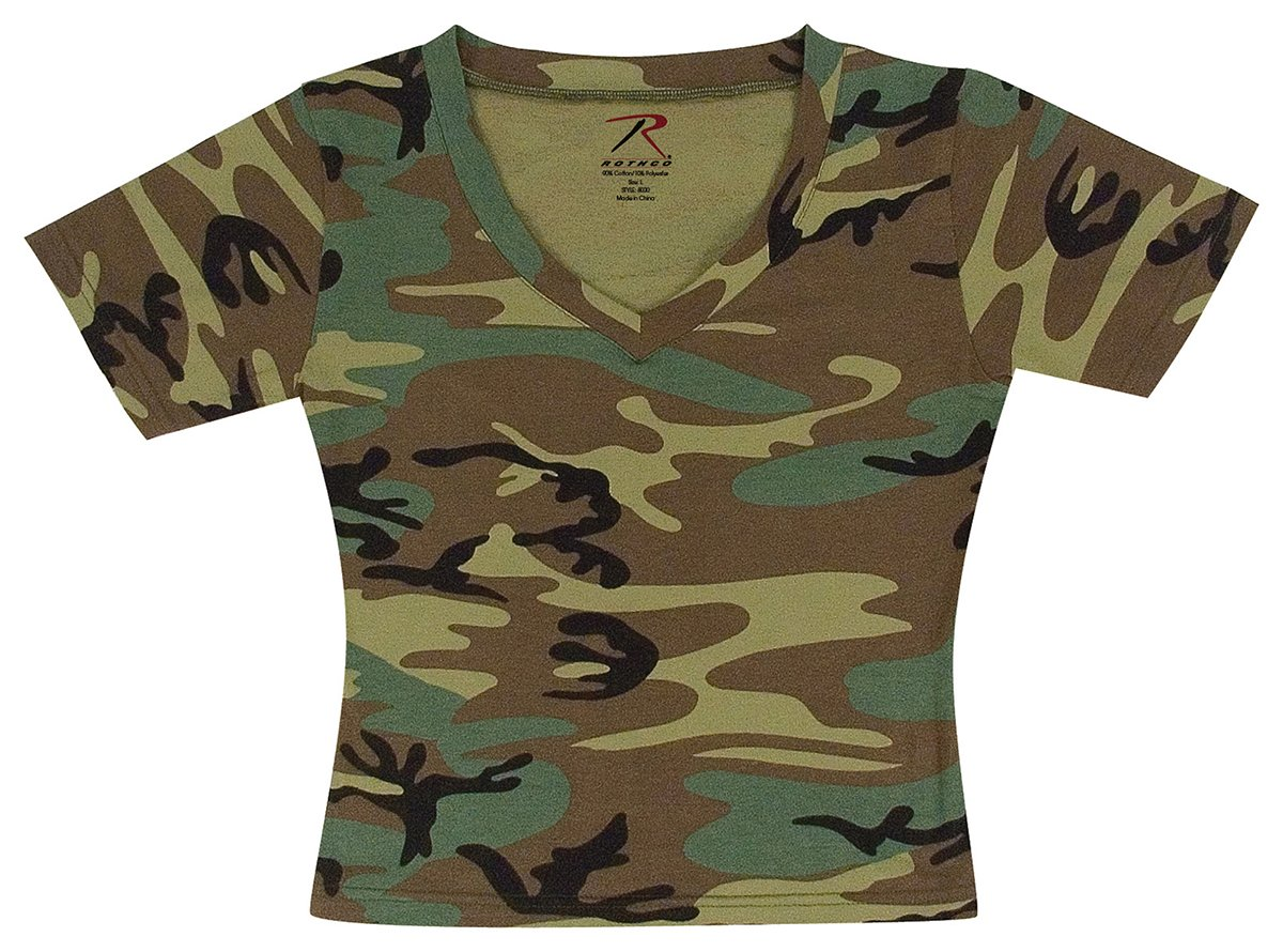 Rothco Womens V-Neck T-Shirt - Woodland Camo RSR Group Inc 613902806634