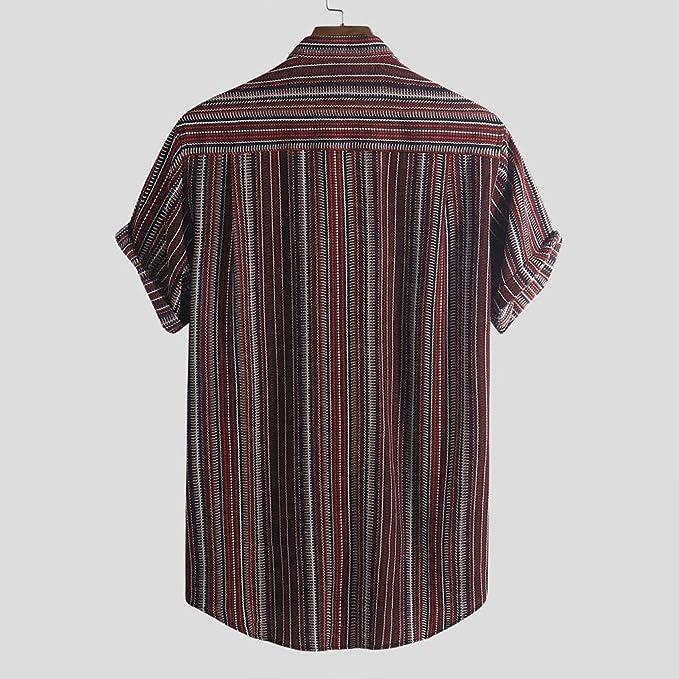 MOTOCO Camisa de Manga Corta con Rayas de Hombre Camisa con Cuello ...