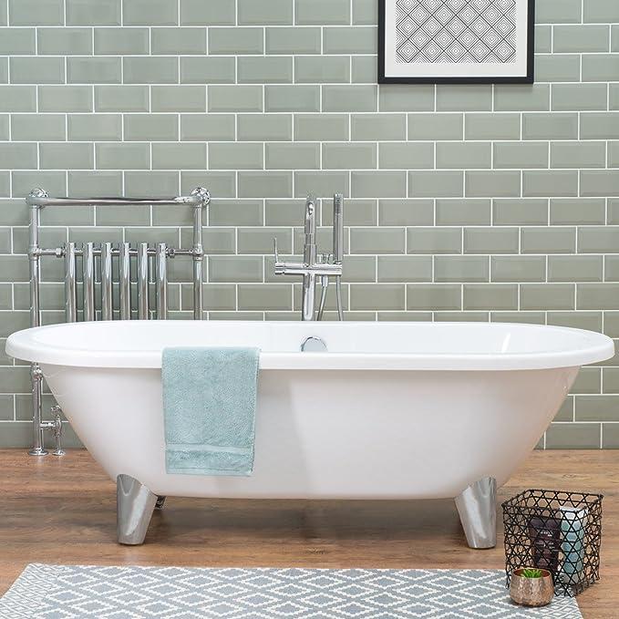 Aquariss Traditional White Bathtub 1760 X 790 Mm Freestanding Ceramic Acrylic Roll Top Bath Tub Amazon Co Uk Kitchen Home