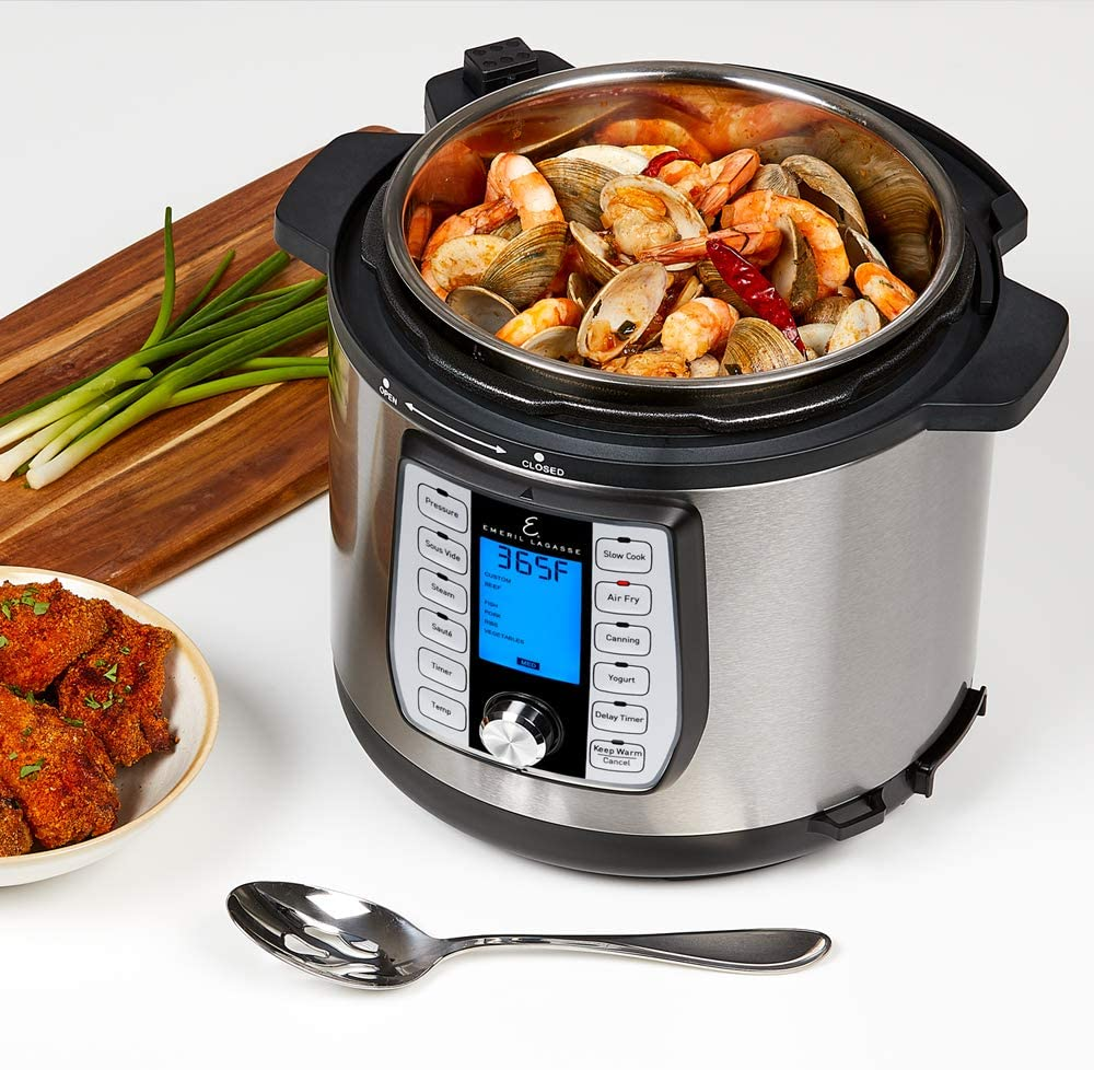 6-Quart Black Steamer /& All-in-One Multi-Cooker Pressure /& Crisper Lid Air Fryer Emeril Recipe Book Glass Lid Emeril Lagasse Pressure Cooker