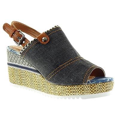 Angkorly Damen Schuhe Sandalen Mule - Peep-Toe - Plateauschuhe - Offen - Geflochten - Fertig Steppnähte - Schleife Keilabsatz High Heel 8.5 cm - Schwarz M103 T 37 42o7n