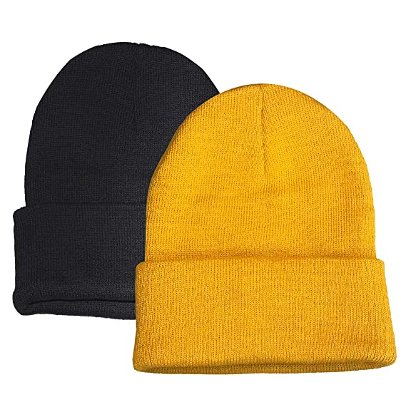 6986187c601 Beanie Warm Comfortable Soft Oversized Thick Cable Knitted Hat Unisex Knit  Caps (Black Camel