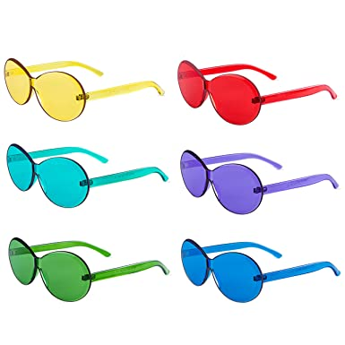 cd10a187f2cc Image Unavailable. Image not available for. Color: One Piece Rimless  Sunglasses Transparent Candy Color Tinted Eyewear ...
