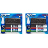 Expo Low Odor Dry Erase Set Contains 5 Fine Point Markers, Cleaner and Eraser ( 2 SETS)