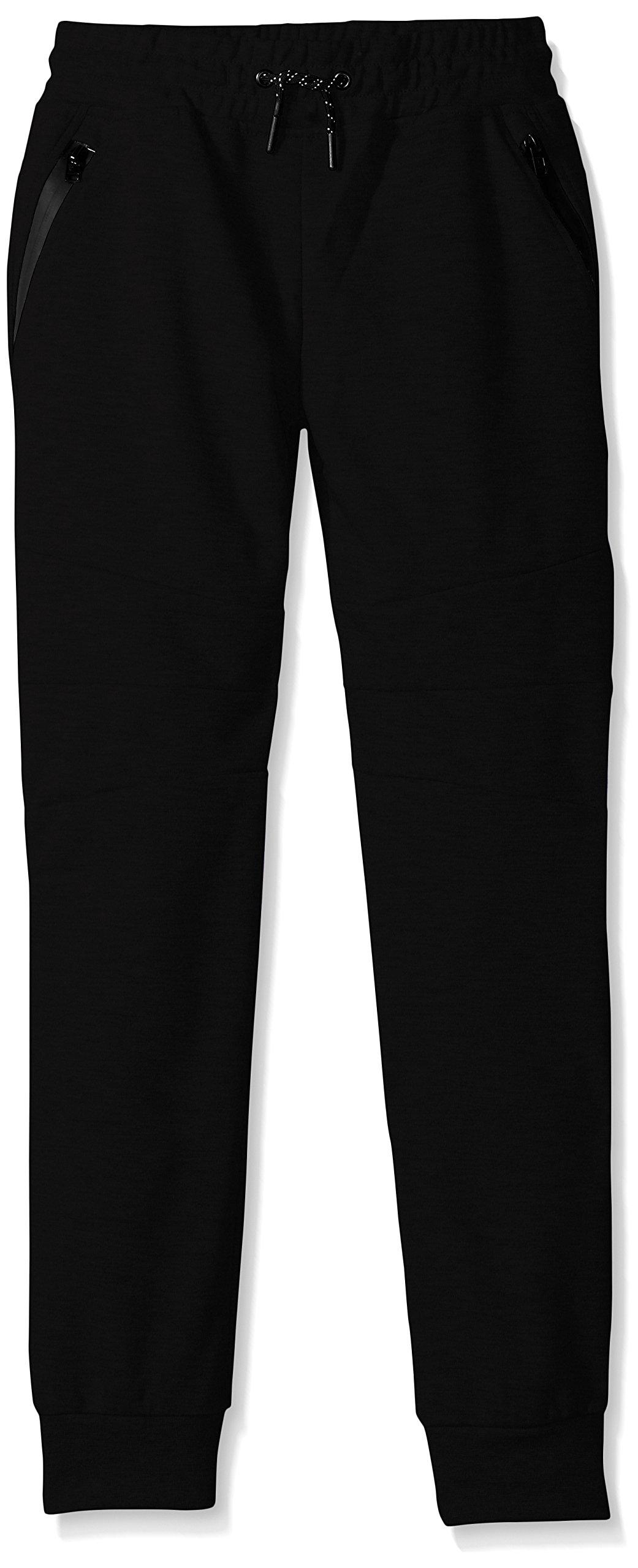 Southpole Big Boys' Tech Fleece Jogger Pants with Zipper Details, Black, Small