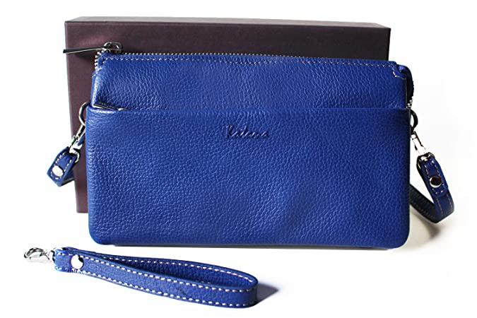 688897342c Pochette KATANA cuir véritable avec lanière bandoulière 5 emplacements et  son coffret (Bleu): Amazon.fr: Chaussures et Sacs