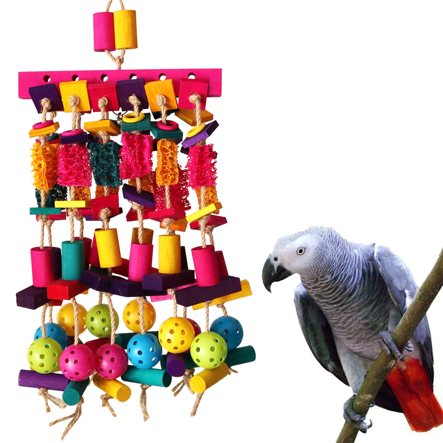 RYPET Large Parrot Chewing Toy - Multicolored Wooden Blocks & Natural Loofah Heavy Duty Bite Bird Toys for African Grey, Macaws and Similar Large Medium-Sized Amazon Parrots by RYPET