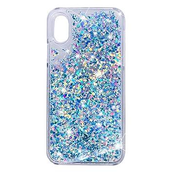 Amazon com: Jewby iPhone X Case, Blue Falling Glitter Liquid Case