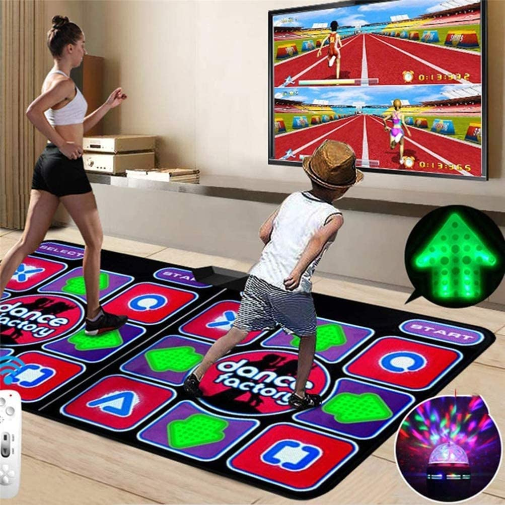 3D Running Blanket Yoga Mat TV Interface LED Durable Musical Play Mat Dancer Blanket Dance Machine Game Machine Silicone Massage Learning Machine HD Quality Light Double Dance Mat