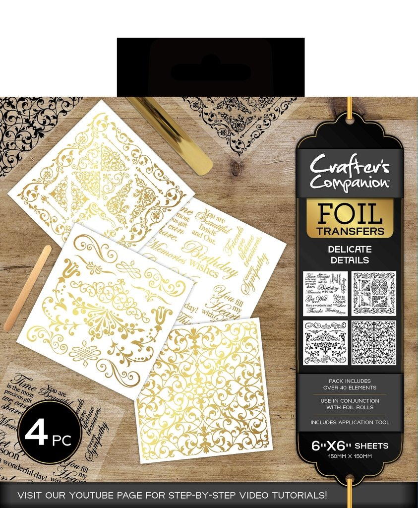 Crafter's Companion Foil Clear Transfers Sheet Stickers - Delicate Details Crafters Companion