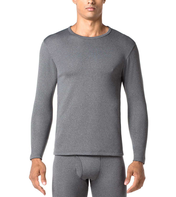 LAPASA Men's Heavyweight Thermal Underwear Top Fleece Lined Base Layer Long Sleeve Shirt M26 (1 Top/Dark Grey, XL Chest 44''-46'' Sleeve 24.4'') by LAPASA