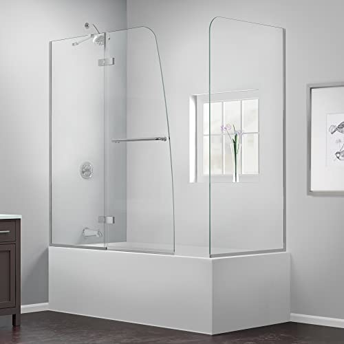 DreamLine Aqua Ultra 57-60 in. W x 30 in. D x 58 in. H Frameless Hinged Tub Door with Return Panel in Brushed Nickel, SHDR-3448580-RT-04