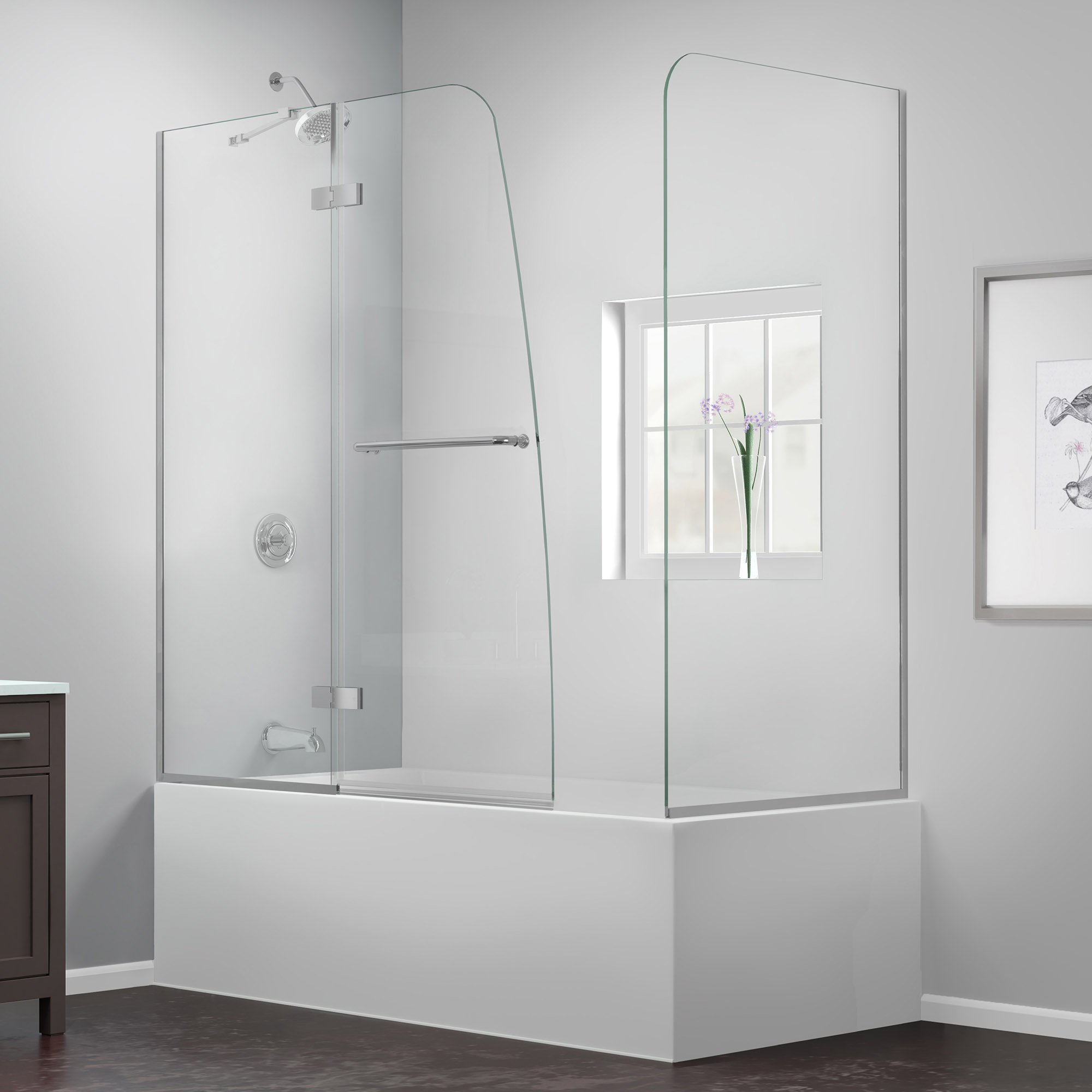 DreamLine Aqua Ultra 57-60 in. Width, Frameless Hinged Tub Door, 5/16'' Glass, Chrome Finish