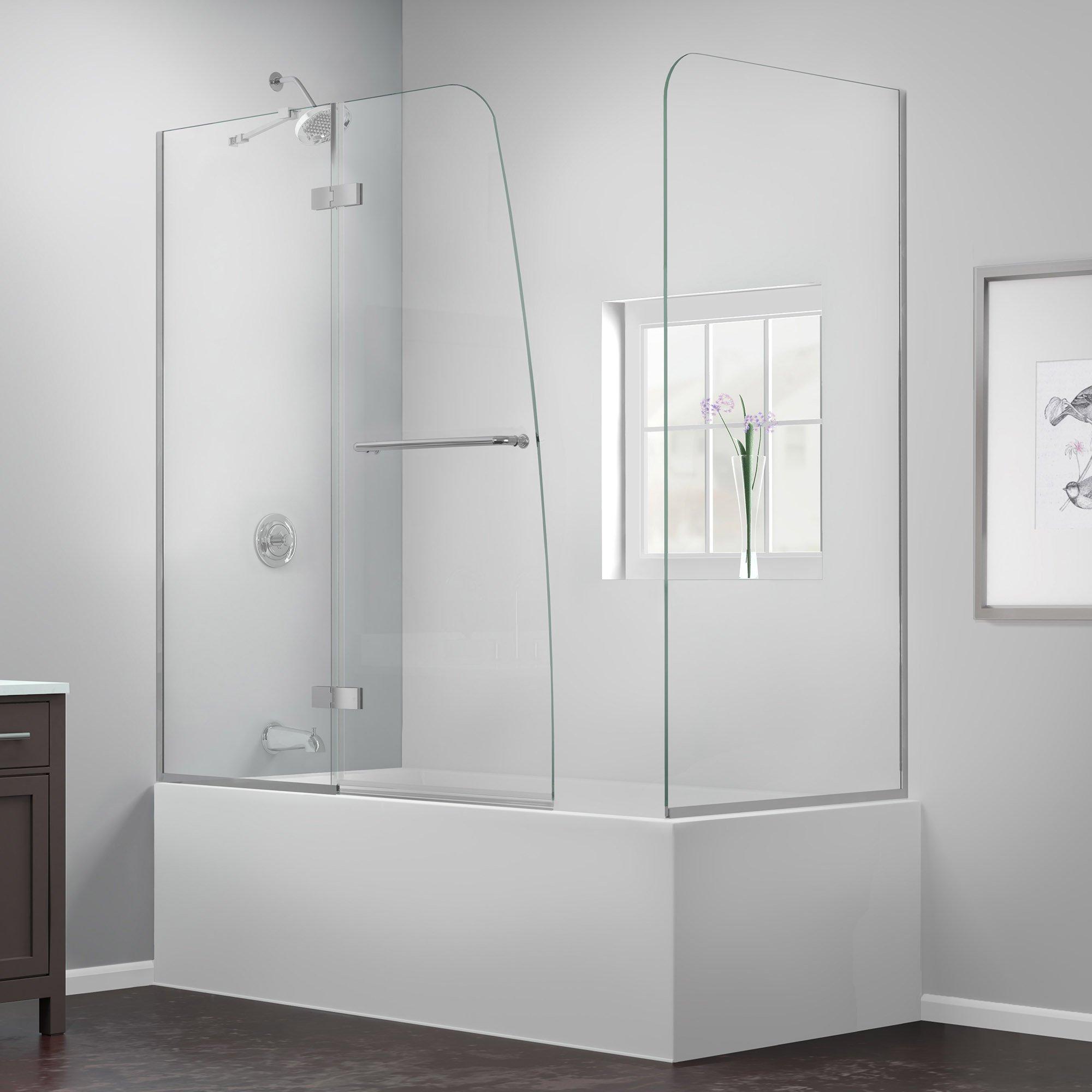 DreamLine Aqua Ultra 57-60 in. Width, Frameless Hinged Tub Door, 5/16'' Glass, Chrome Finish by DreamLine