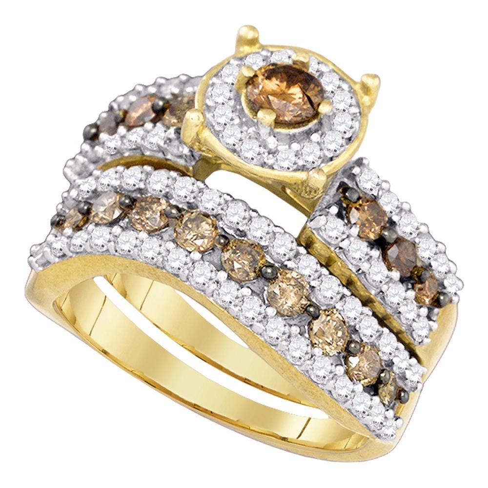 Brown Diamond Round Halo Engagement Ring Wedding Band Set 10k Yellow Gold Chocolate Bridal Set 1-3/4 ctw