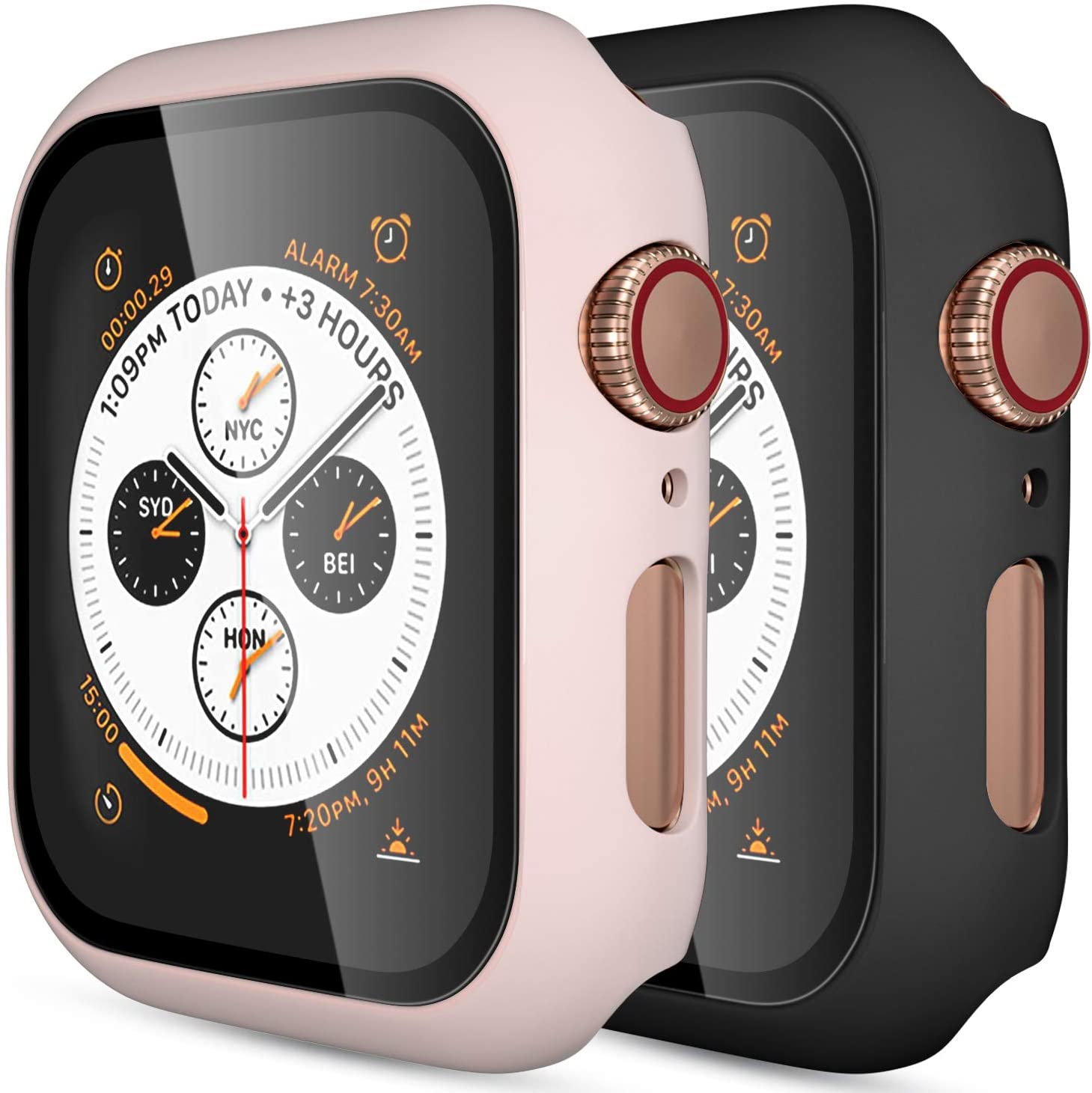 (2 Pack) GEAK Hard Case for Apple Watch 44mm Series 5 with Screen Protector, Full Body Protective Bumper Case Cover for iWatch Series 5/4, Black/Pink