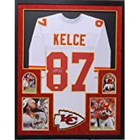 $425 » Travis Kelce Kansas City Chiefs Autograph Signed Custom Framed Jersey White Suede Matted 4 Picture JSA Certified