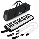 Eastar Melodica 32 Key Melodica Instrument Keyboard Soprano With Mouthpiece, Carrying Bag Black