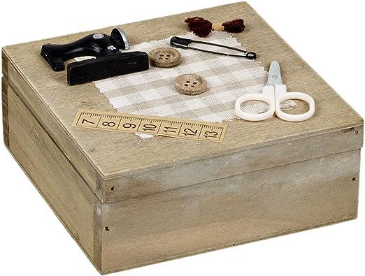 Costurero con Tapa caja de madera estilo rústico: Amazon.es: Hogar